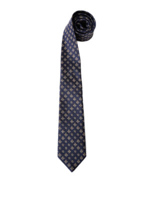 Gucci: ties & bow ties - Bee and star pattern silk tie