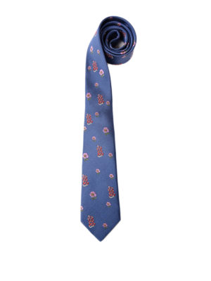 Gucci: ties & bow ties - Flower and snake pattern silk tie