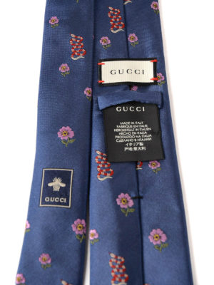 Gucci: ties & bow ties online - Flower and snake pattern silk tie