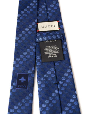 Gucci: ties & bow ties online - Light blue double G silk tie