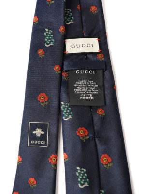 Gucci: ties & bow ties online - Snake and flower pattern silk tie