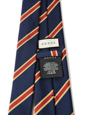 Gucci: ties & bow ties online - Striped blue silk cotton tie
