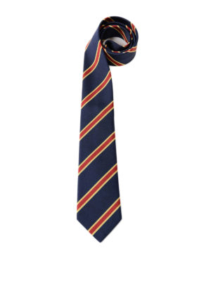 Gucci: ties & bow ties - Striped blue silk cotton tie