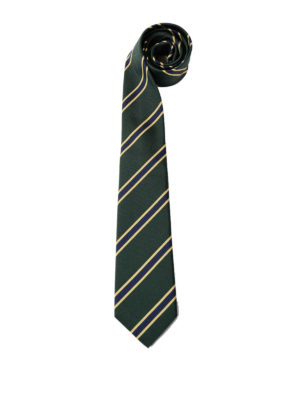 Gucci: ties & bow ties - Striped green silk cotton tie