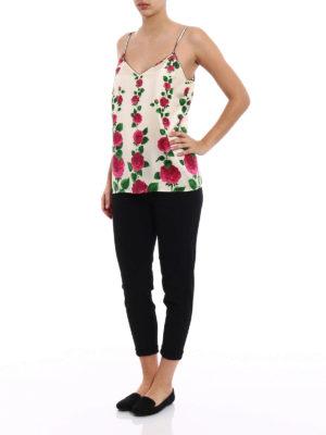 Gucci: Tops & Tank tops online - Roses print silk twill tank top