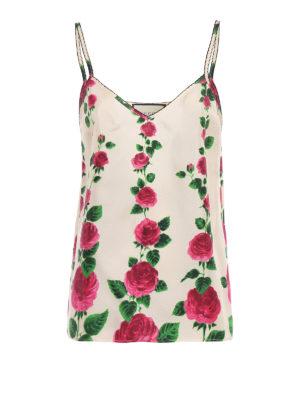 Gucci: Tops & Tank tops - Rose print silk twill tank top