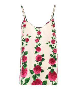 Gucci: Tops & Tank tops - Roses print silk twill tank top