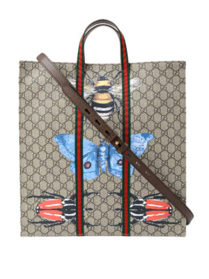 Gucci: totes bags - Bee print GG canvas web tote