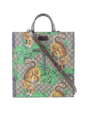 Gucci: totes bags - Gucci Bengal print GG canvas tote