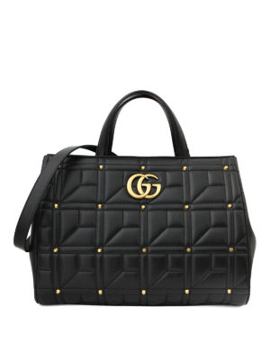Gucci: totes bags - Marmont stud leather medium tote