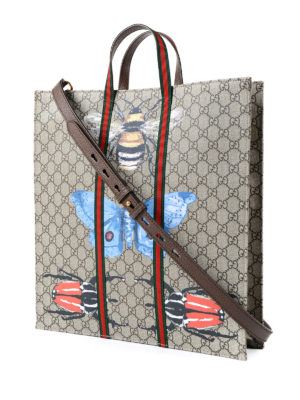 Gucci: totes bags online - Bee print GG canvas web tote
