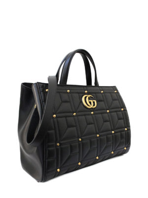 Gucci: totes bags online - Marmont stud leather medium tote