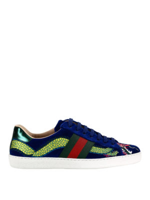 Gucci: trainers - Ace embroidered velvet sneakers
