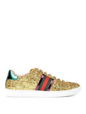 Gucci: trainers - Ace Glitter low top sneakers