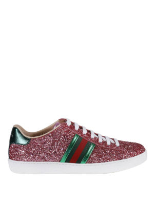 Gucci: trainers - Ace glittered leather sneakers