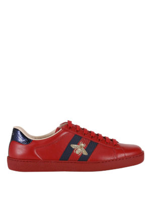 Gucci: trainers - Ace Web detail leather sneakers