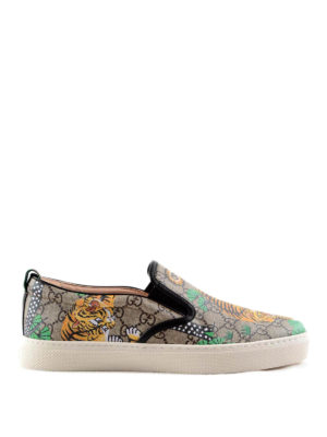 Gucci: trainers - Bengal print GG Supreme slip-ons