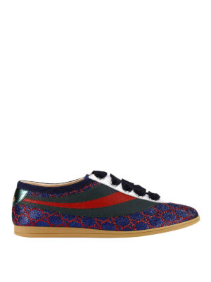 Gucci: trainers - Falacer lurex and leather sneakers