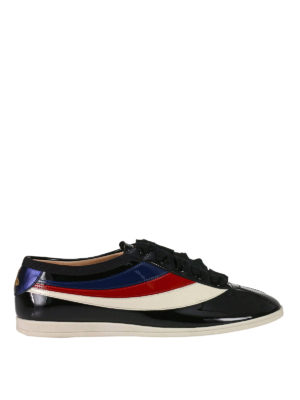 Gucci: trainers - Falacer Web side patent sneakers