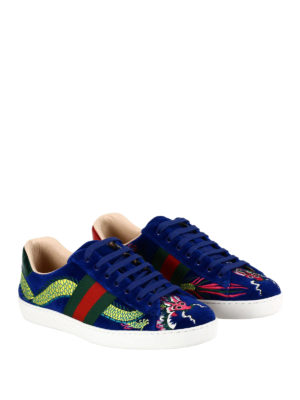 Gucci: trainers online - Ace embroidered velvet sneakers