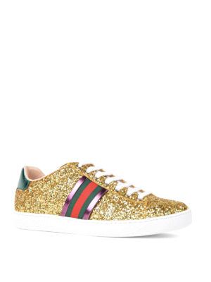 Gucci: trainers online - Ace Glitter low top sneakers