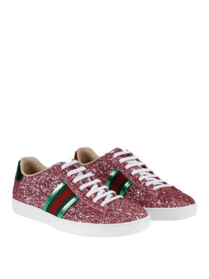 Gucci: trainers online - Ace glittered leather sneakers