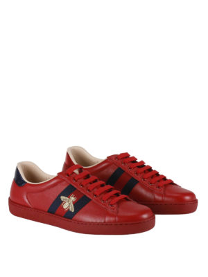 Gucci: trainers online - Ace Web detail leather sneakers