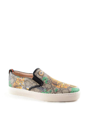 Gucci: trainers online - Bengal print GG Supreme slip-ons