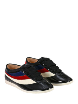 Gucci: trainers online - Falacer Web side patent sneakers