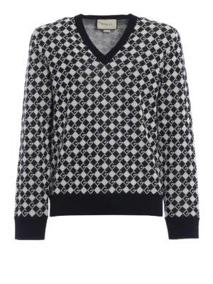 GUCCI: maglia collo a v - Pull a V in lana con GG a intarsia