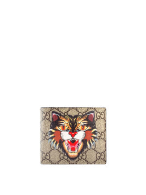 Gucci: wallets & purses - Angry Cat print GG Supreme wallet
