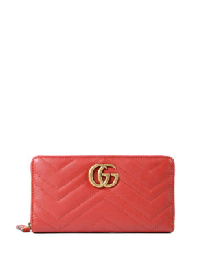 Gucci: wallets & purses - GG Marmont zip-around red wallet