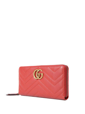 Gucci: wallets & purses online - GG Marmont zip-around red wallet