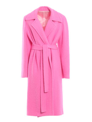 HELMUT LANG: cappotti lunghi - Cappotto lungo Nappy color rosa forte