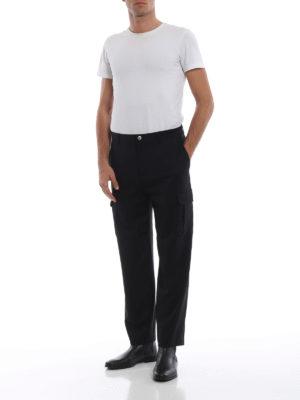 HELMUT LANG: pantaloni casual online - Pantaloni cargo sartoriali in jersey di lana