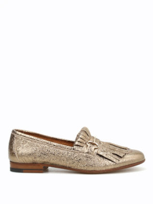 Henderson: Loafers & Slippers - Crackle leather fringed loafers