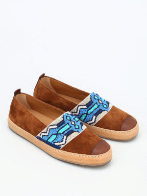Henderson: Loafers & Slippers online - Bead embroidery suede slip-ons