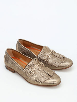Henderson: Loafers & Slippers online - Crackle leather fringed loafers