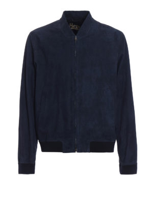 Herno: bombers - Blue suede bomber jacket