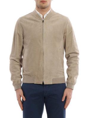 Herno: bombers online - Soft nubuck leather bomber jacket