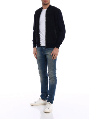 Herno: bombers online - Suede front knitted wool bomber