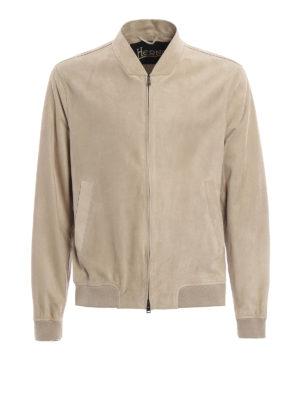 Herno: bombers - Soft nubuck leather bomber jacket