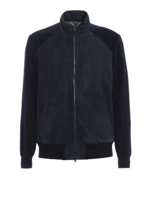 Herno: bombers - Suede and knitted cotton bomber