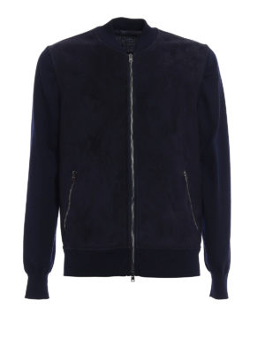 Herno: bombers - Suede front knitted wool bomber