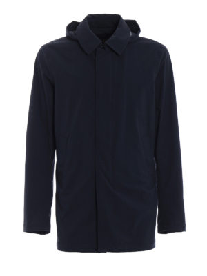 Herno: casual jackets - Blue stretch nylon long jacket