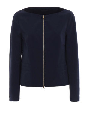 Herno: casual jackets - Blue techno cotton flared jacket