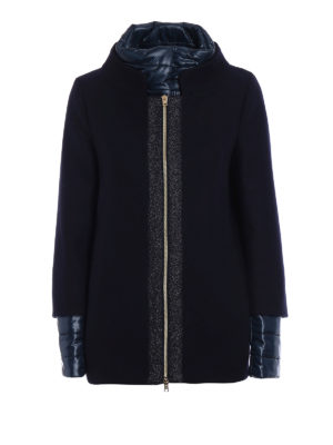 Herno: casual jackets - Blue wool double front jacket