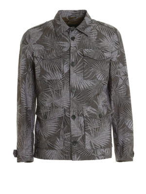 Herno: casual jackets - Leaf print canvas jacket