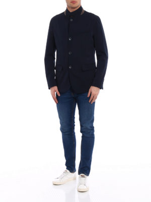 Herno: casual jackets online - Water repellent blue wool jacket