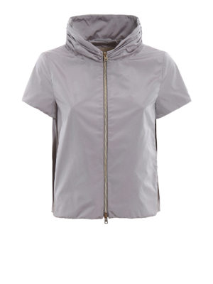 Herno: casual jackets - Short sleeve grey nylon jacket